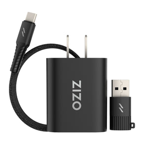 ZIZO PowerVault Bundle Travel Charger + Type C to C Cable + USB to Type C Adapter - Black