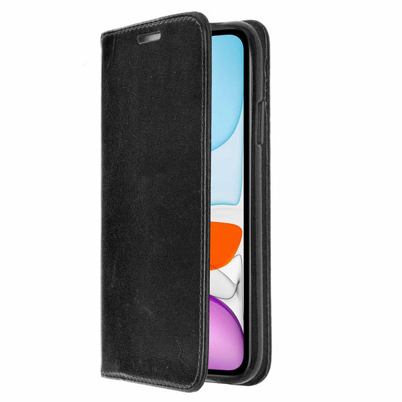 ZIZO WALLET FOLIO Series iPhone 11 (2019) Case - Magnetic Flap Closure with Credit Card and ID Holder (Black Leather)