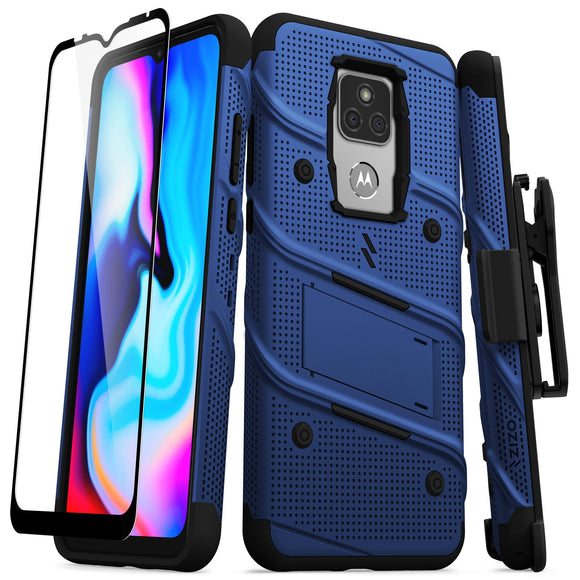 ZIZO BOLT Series Moto G Play (2021) Case with Tempered Glass - Blue & Black