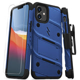 ZIZO BOLT Series iPhone 12 Mini Case with Tempered Glass - Blue & Black