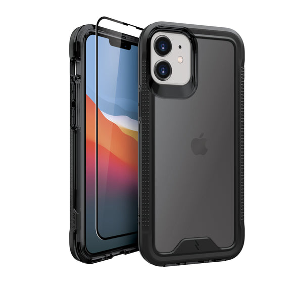ZIZO ION Series iPhone 12 Mini Case with Tempered Glass - Black & Smoke
