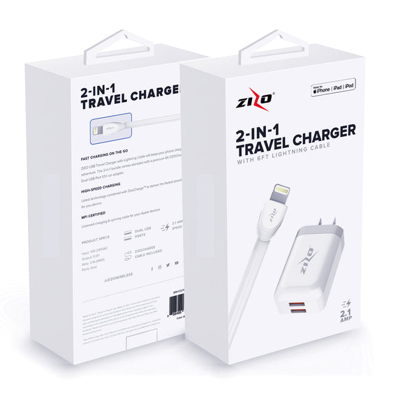 ZizoCharge 2in1 H10 Adapter and 6ft MFi Certified Cable for iPhone / iPad / iPod (White)