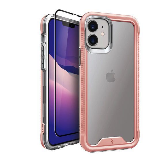 ZIZO ION Series iPhone 12 / iPhone 12 Pro Case with Tempered Glass - Rose Gold & Clear