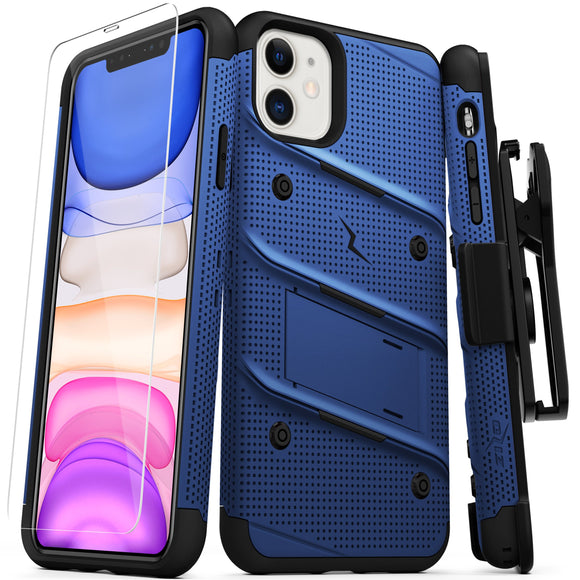 ZIZO BOLT Series iPhone 11 (2019) Case - Built-In Kickstand Belt Holster Tempered Glass Screen Protector (Blue/Black)