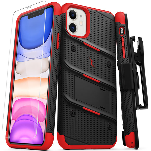 ZIZO BOLT Series iPhone 11 (2019) Case - Built-In Kickstand Belt Holster Tempered Glass Screen Protector (Black/Red)
