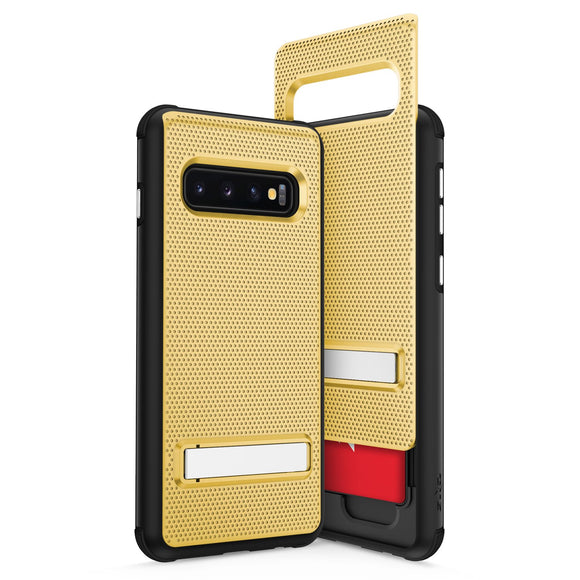For Samsung Galaxy S10 - Phase Series by Zizo - Shockproof Cover with Hidden Wallet Back and Kickstand Gold Black