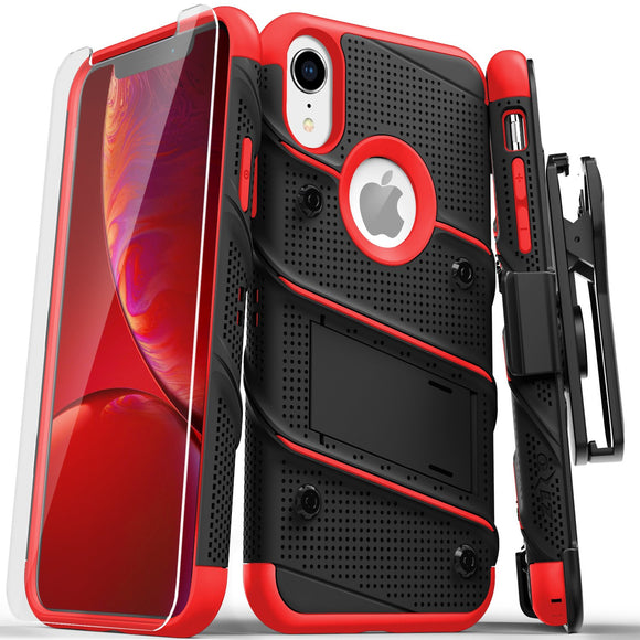 For iPhone XR - BOLT Case with Built In Kickstand Holster and Tempered Glass Screen Protector (Black/Red)