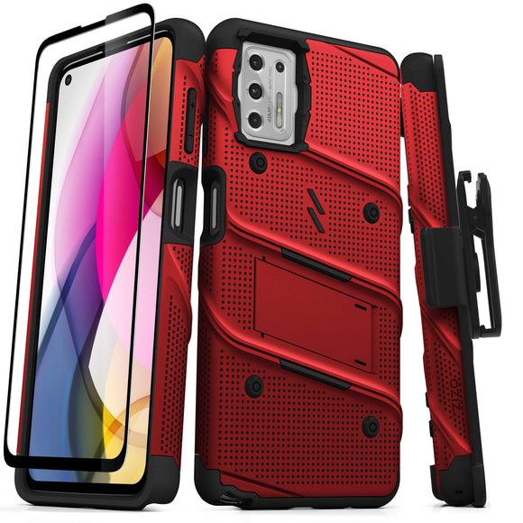 ZIZO BOLT Series Moto G Stylus (2021) Case with Tempered Glass - Red & Black