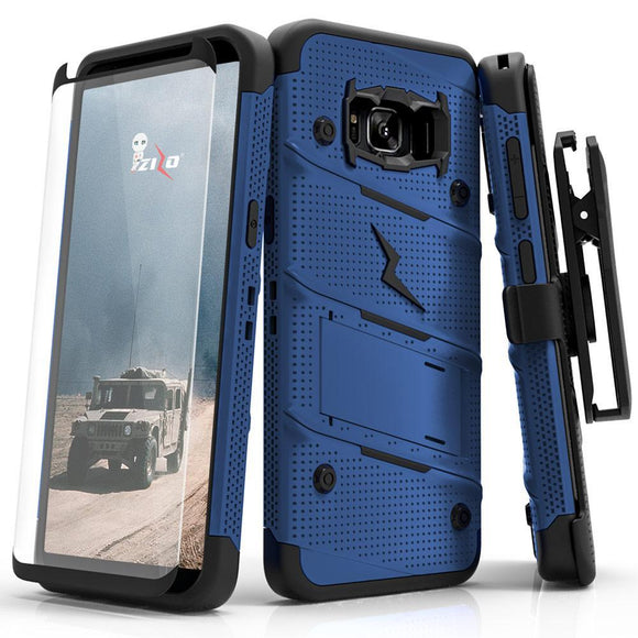 For Samsung Galaxy S8 - BOLT Cover w/ Kickstand  Holster, Tempered Glass Screen Protector & Lanyard - Blue/Black BOLT