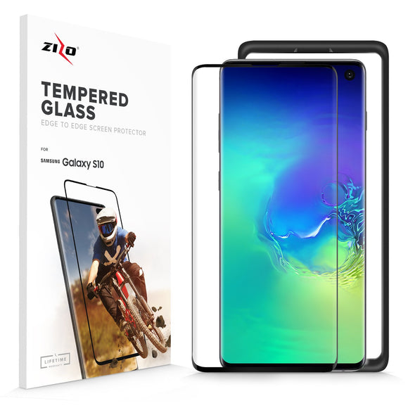 For Samsung Galaxy S10 - Full Covered Edge to Edge - 0.33mm Tempered Glass Screen Protector Black