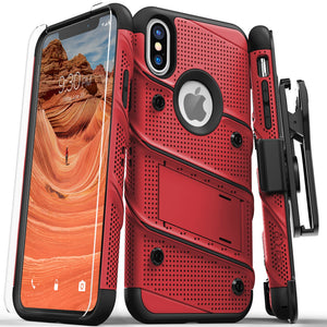 For iPhone Xs Max - Zizo BOLT Cover with Full Edge to Edge Tempered Glass Screen Protector  Holster, Kickstand, Lanyard - Red/Black