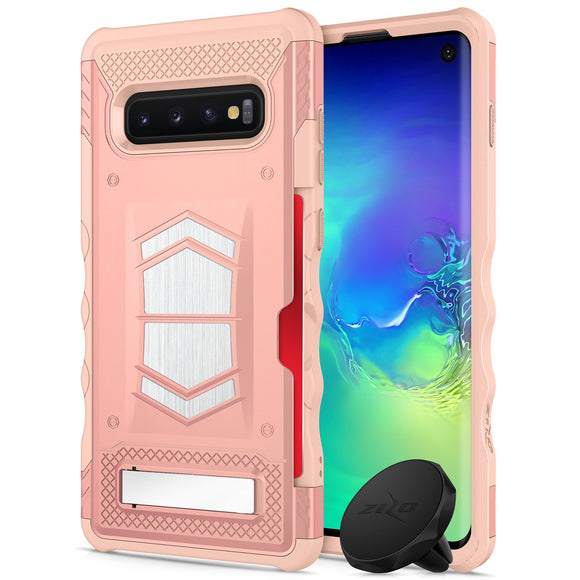 For Samsung Galaxy S10 - Zizo Electro Series with Card Slot Built in Magnet Air Vent Magnetic Holder Rose Gold Peach