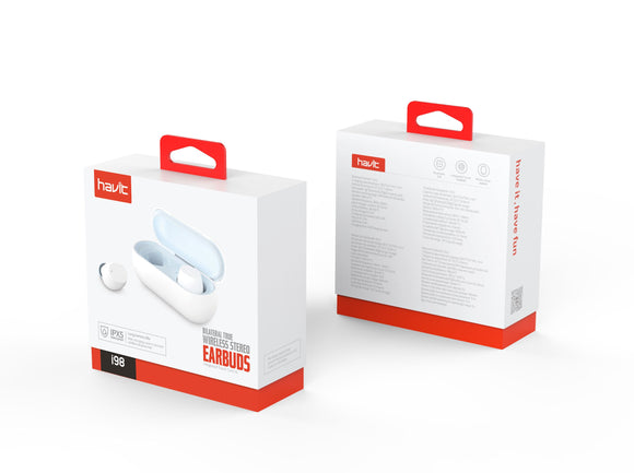 HAVIT I98 Multifunctional True Wireless Bluetooth Earbuds - White & Blue