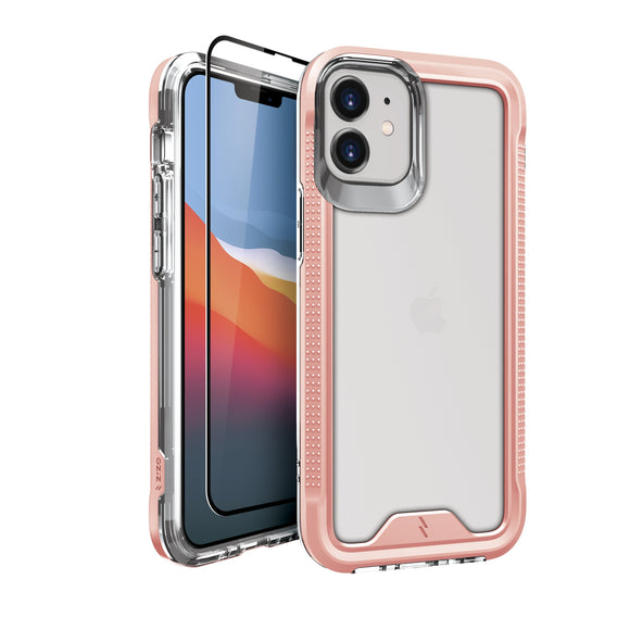 ZIZO ION Series iPhone 12 Mini Case with Tempered Glass - Rose Gold & Clear