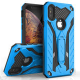 For iPhone XS Max - Zizo Static Series Dual Layered Hybrid Case with Kickstand - Blue & Black