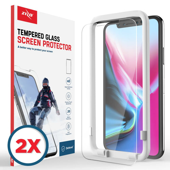 For iPhone X / XS - 2-Pack Lightning Shield - 0.33mm Tempered Glass Screen Protector - Clear