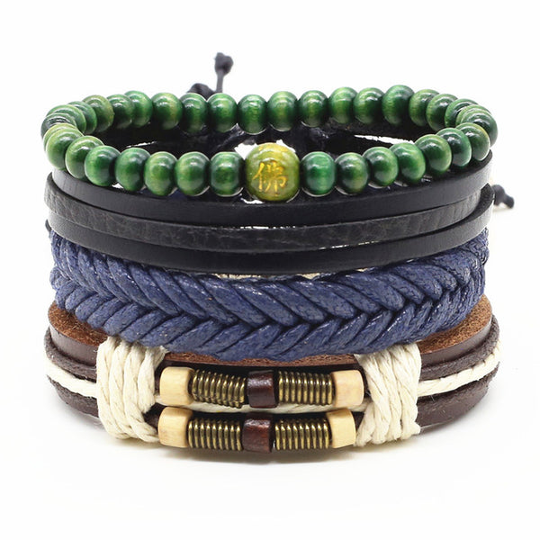 LINDA-Grocery-Store Fashion Trendy Charm Bracelets Leather Jewelry Woven Rope Chain Comfortable Vintage Men Women Bohemia Gift,Black and White