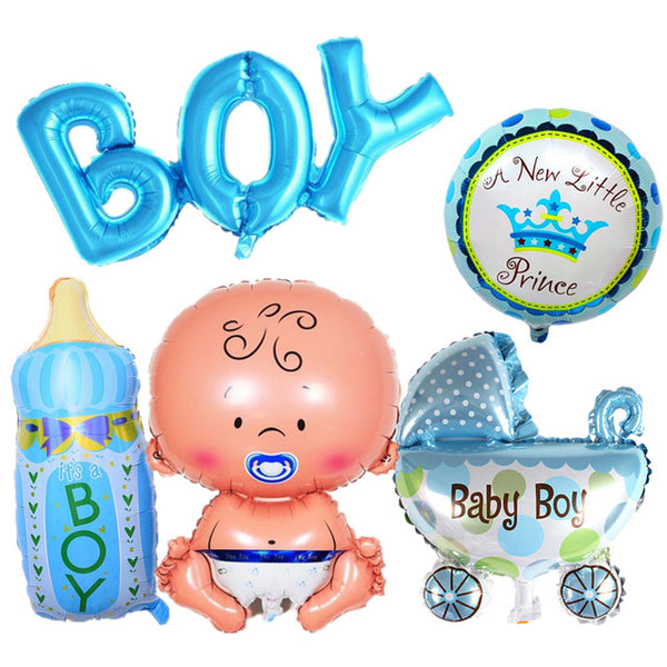5pcs Set Baby Shower Birthday Theme Party Boy Girl Foil Balloons