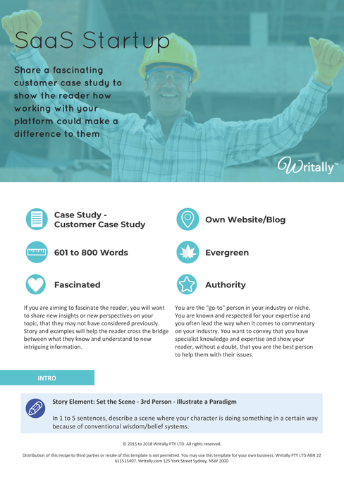 Customer Case Study Blog Post Template - Theme: SaaS Startup for B2B Customers
