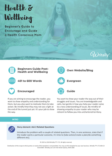 Beginner's Guide Blog Post Template - Theme: Health and Wellbeing for Health Conscious Moms