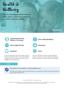 Inspirational/Motivational Blog Post Template - Theme: Health and Wellbeing for Health Conscious Moms