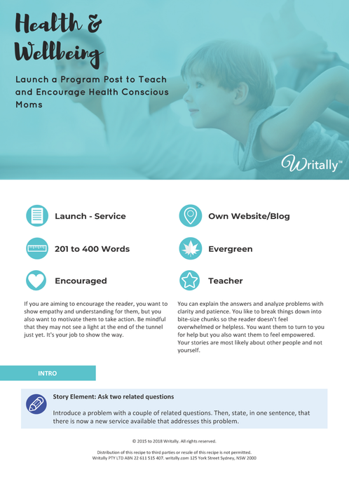Program Launch Blog Post Template - Theme: Health and Wellbeing for Health Conscious Moms