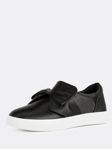 0 0 0 Faux Satin Bow Top Sneakers BLACK