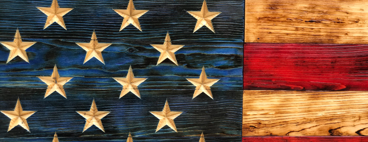 (3XL) 60 x 36 Rustic Wooden Flags
