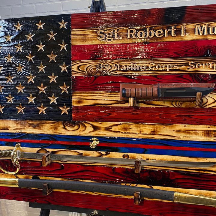 Military Sword and Ka-Bar Wall Display World Famous Wooden American Flag USMC Veteran Owned Business Custom Engraved Carved by Etherton Hardwoods