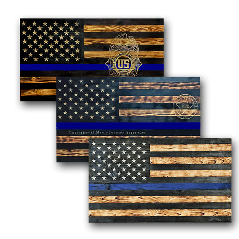 Wooden American Flags - Thin Blue Line - Traditional Wood Flag Collection