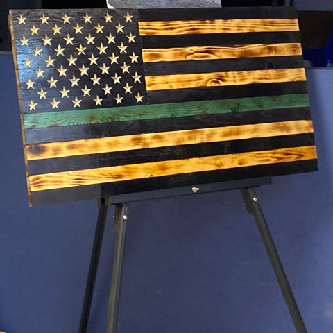 Wooden American Flags - Thin Green Line - Wood Flag Collection