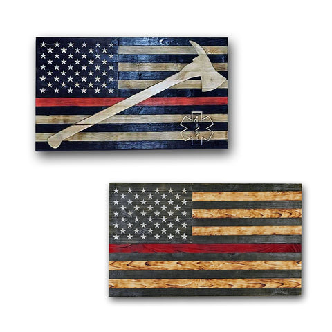 Wooden American Flags - Thin Red Line - Traditional Wood Flag Collection