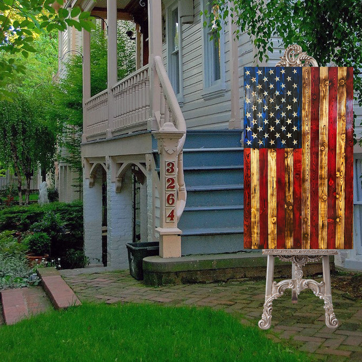 Vertical Wooden American Flags with Carved Stars Rustic Wood USA Home Decor