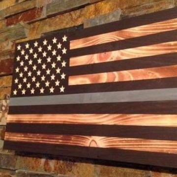 Thin Silver Line - Wooden American Flag - Subdued Rustic Style in honor our Corrections Officers. Made by Veterans in the USA at Etherton Hardwoods