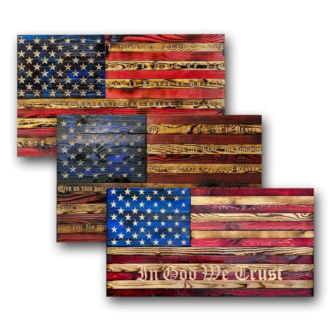 Pledge of Allegiance Limited Edition Hand Carved Wooden American Flag Made by USA Veterans at Etherton Hardwoods
