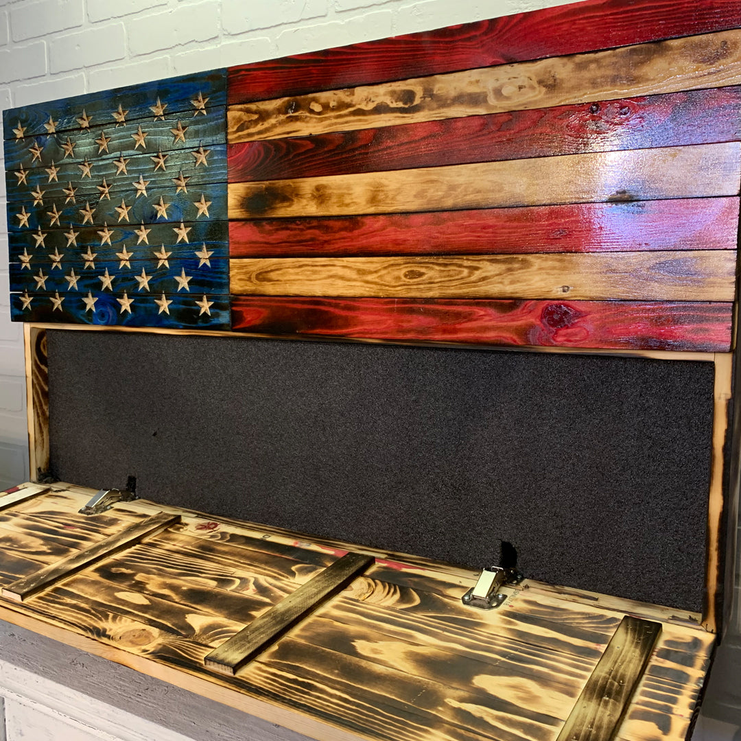Rustic Wooden American Flags with Concealed Hidden Compartment Carved Stars Veteran Made Gifts for Dad Fathers Day Christmas Birthday Retirement Police Officer