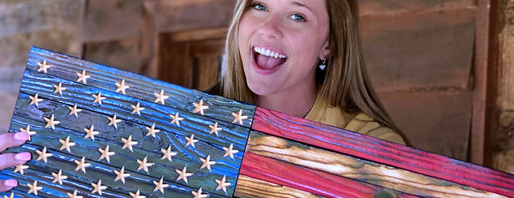 All wooden American flags from Etherton Hardwoods are shipped fast and made in the USA by veterens from the USMC featuring custom hand carved stars.