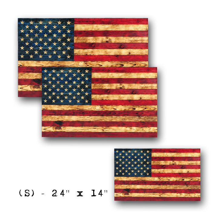 Handmade wooden American Flags featuring carved stars and raised grain made in the USA by USMC veterans