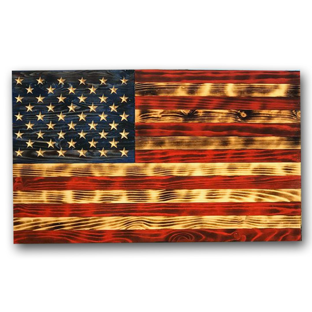 Rustic Wooden American Flag VIVID slow burn hand rubbed grain handcrafted by Veterans with PTSD in the USA. Etherton Hardwoods is home of the World Famous Heritage Wood Flag
