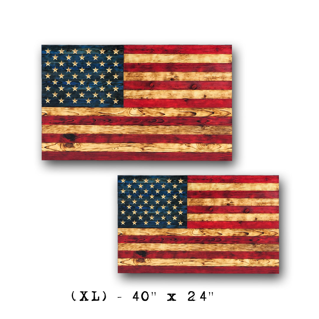USMC Veteran Made wooden American Made wood flags that are rustic and come with fast shipping