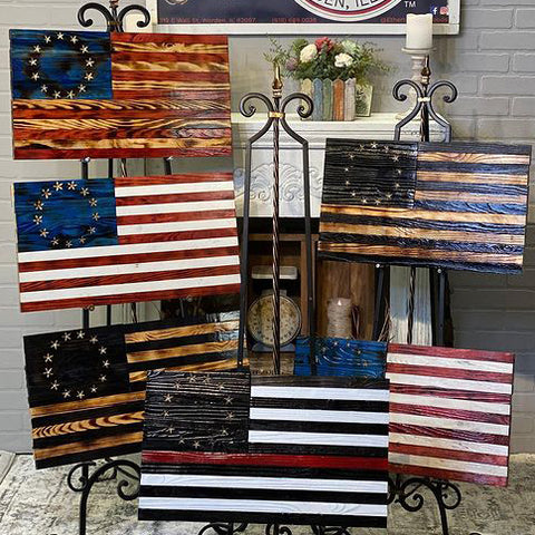 Betsy Ross American Flag Wood Burnt Carved US Flags by Etherton Hardwoods