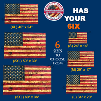 Etherton Hardwoods makes wooden American Flags in 6 sizes from small to 3XL. USMC Veteran Owned Company.