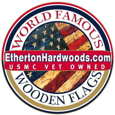 World Famourrrs Wooden American Flags - Etherton Hardwoods - Veteran Owned Business - Heritage Flag - Betsy Ross Wood Flag - Rustic Wooden USA Flags