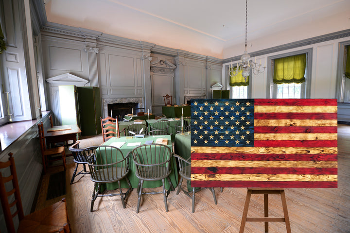 Wooden American Flag with Carved Rustic Stars Handcrafted by Combat Veterans in the USA at Etherton Hardwoods in Worden IL