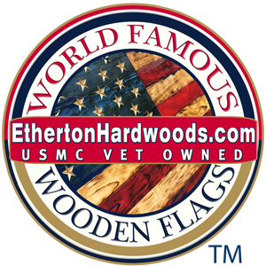 Wooden American Flags made by USMC veterans at Etherton Hardwoods Made in USA with 3XL Wood Flags and Fast Same Day Shipping