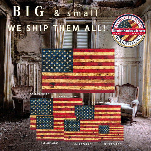 Wooden American Flags Carved Stars Handcrafted by Veterans with PTSD at Etherton Hardwoods Veteran Powered Manufacturing Making Flags of Valor