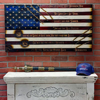 Extreme! Battlefield Worn - Limited Edition AMERICANA wooden American Flag. Featuring carved warrior quote