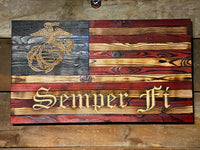 Semper Fi - Signature Series Wooden American Flag - USMC Veteran Made by Marines for Marines. This is the flag every Marine Corps vet wants!