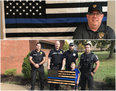 Thin Blue Line honors Law Enforcement Officers Custom Memorial Wooden American Flag canvas wall art rustic wall decor by Veterans at Etherton Hardwoods
