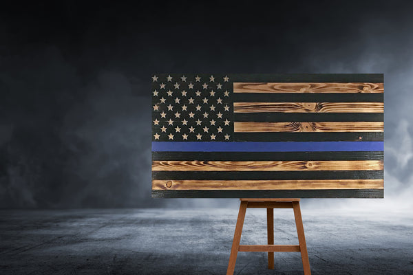 Thin Blue Line Law Enforcement Fallen Police Officer Memorial Flag Rustic Large Outdoor Wood USA Flags